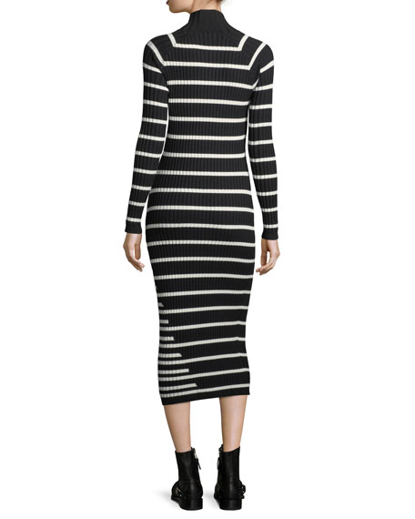 Fitted Rib-Knit Intarsia Stripe Turtleneck Dress