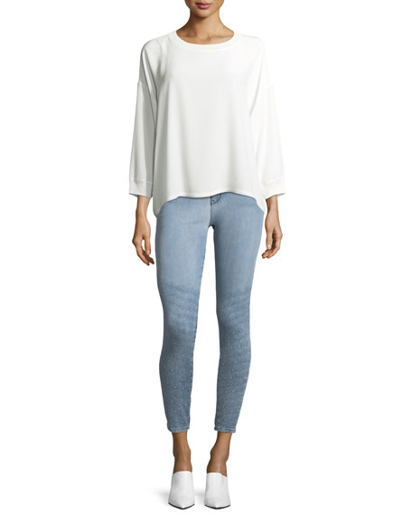 Dolly Mid-Rise Light-Wash Skinny Jeans w/ Topstitching
