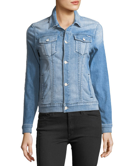 Star Bruiser Button-Front Faded Denim Jacket