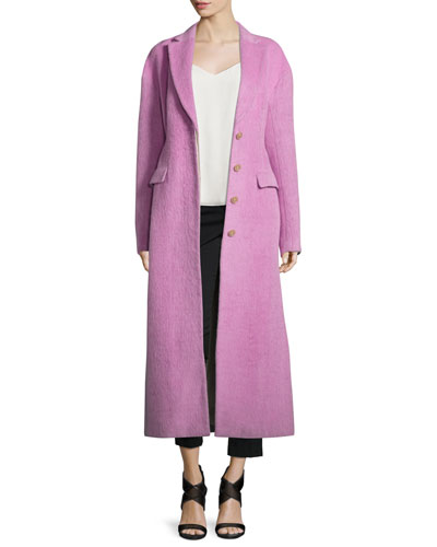 Long Button-Front Tailored Wool/Mohair Coat