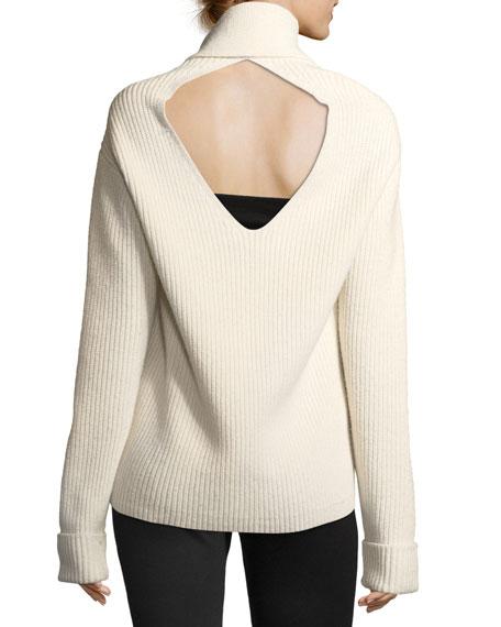 Long-Sleeve Draped Wool Rib-Knit Sweater