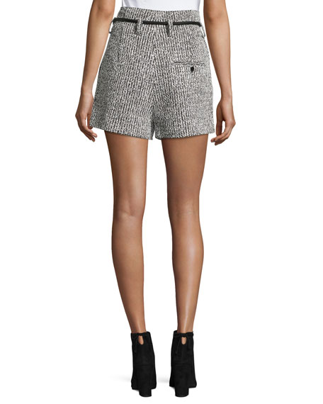 Origami Tweed Shorts w/ Leather Tie