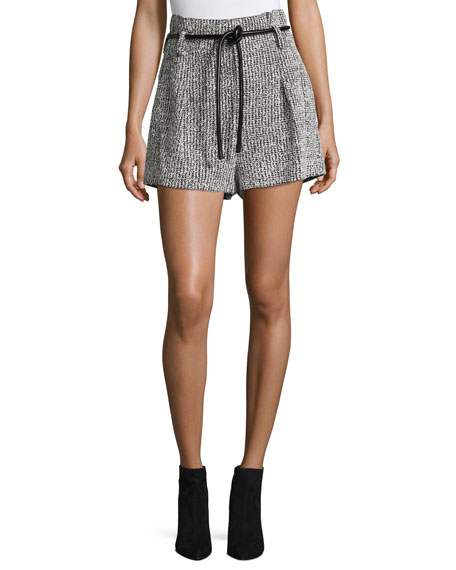 3.1 Phillip Lim Origami Tweed Shorts w/ Leather