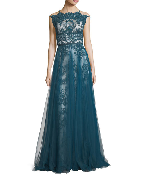 Harlow High-Neck Sleeveless Lace Evening Gown