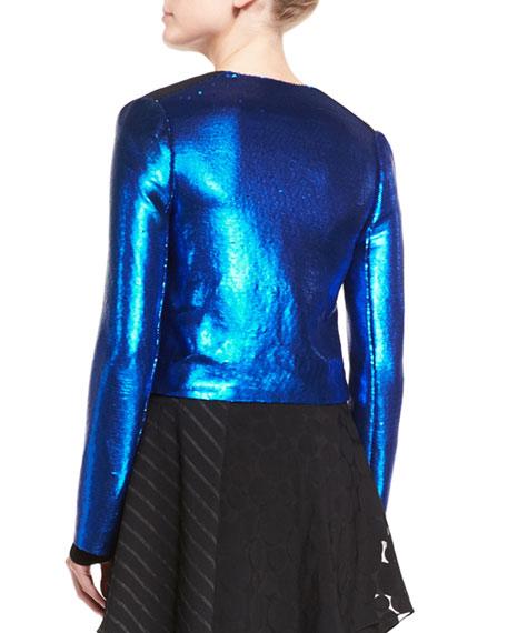 Long-Sleeve Zip-Front Metallic-Sheen Jacket