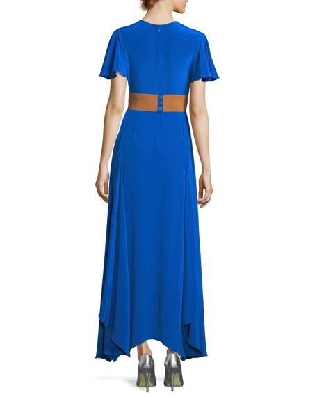 Flutter-Sleeve Split-Front Silk Evening Gown