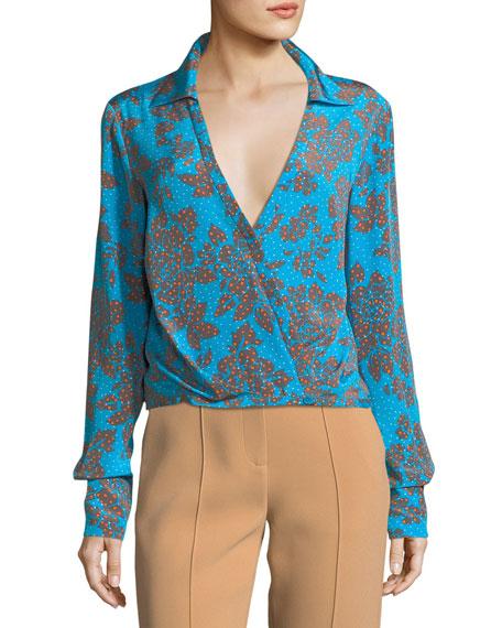 b7697d5786dec9 Diane von Furstenberg Long-Sleeve Collared Crossover Silk Blouse