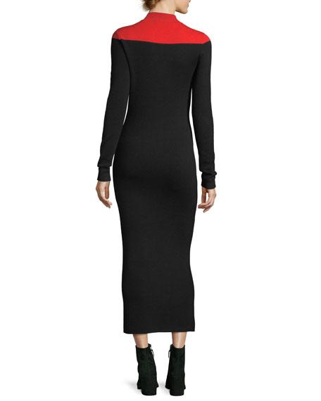 Long-Sleeve Mock-Neck Wool-Blend Knit Midi Dress