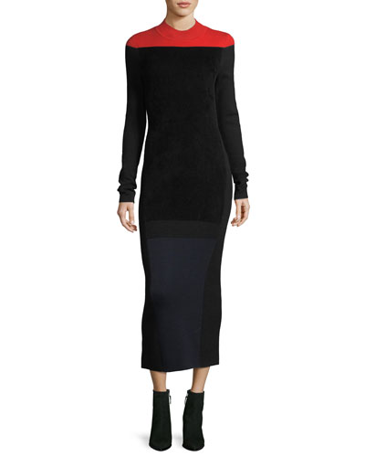 Long-Sleeve Mock-Neck Wool-Blend Knit Midi Dress