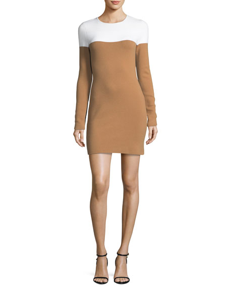 Long-Sleeve Crewneck Knit Colorblocked Mini Dress