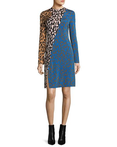 Long-Sleeve Bias Fitted Silk Dress