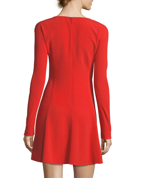 783e9f510df Diane von Furstenberg Long-Sleeve V-Neck Fit-and-Flare Mini Dress