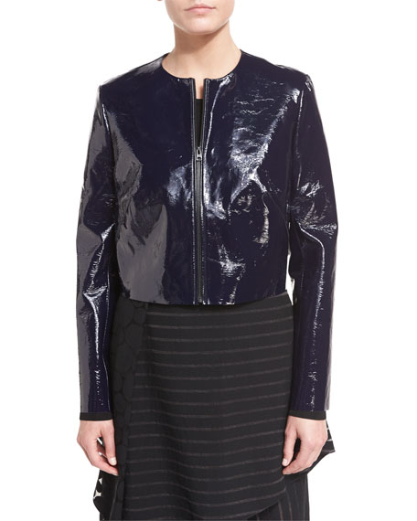 Tailored Zip-Front Lamb Leather Jacket