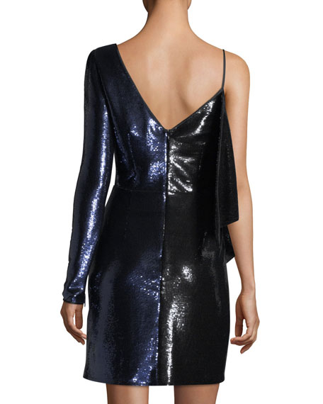 One-Shoulder Ruffle Sequin Mini Dress