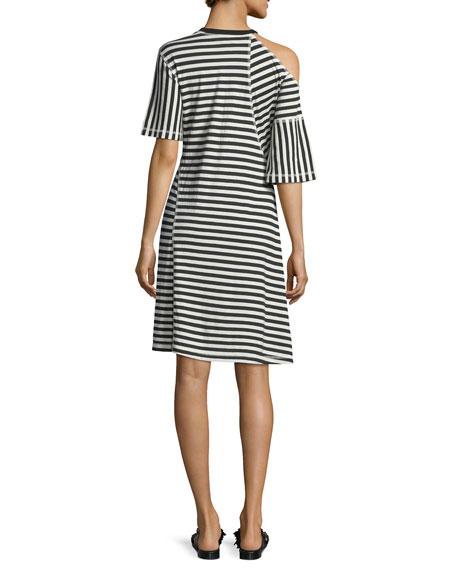 Striped Jersey Cold-Shoulder Dress