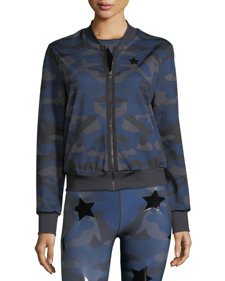 Camo Knockout Zip-Front Bomber Jacket w/ Star