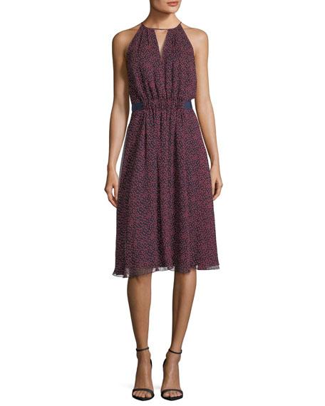 Sleeveless Jewel-Neck Printed Silk Dress