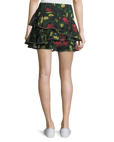Floral-Print Ruffled Silk Miniskirt