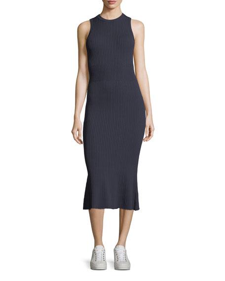 Sleeveless Ribbed-Knit Dress