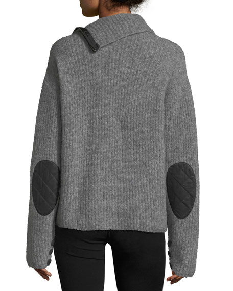 Lyza Zip-Neck Long-Sleeve Ribbed Wool-Blend Sweater
