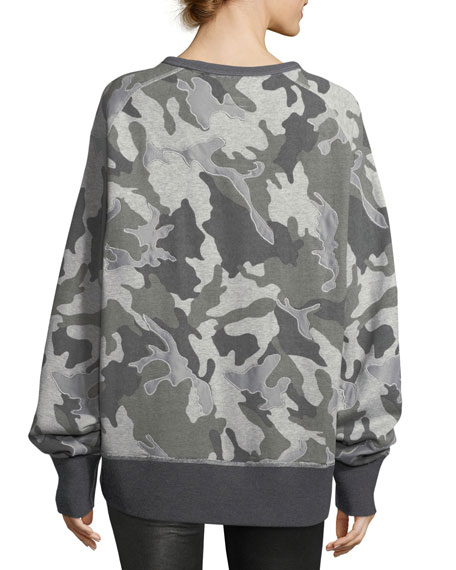 Mesh Camo Crewneck Cotton Sweatshirt