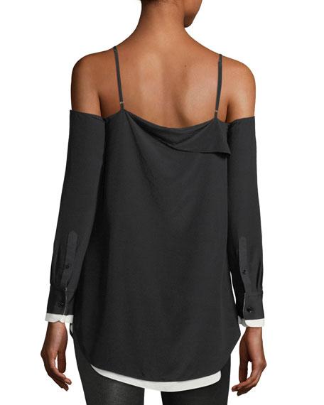 Karley Cold-Shoulder Long-Sleeve Silk Top