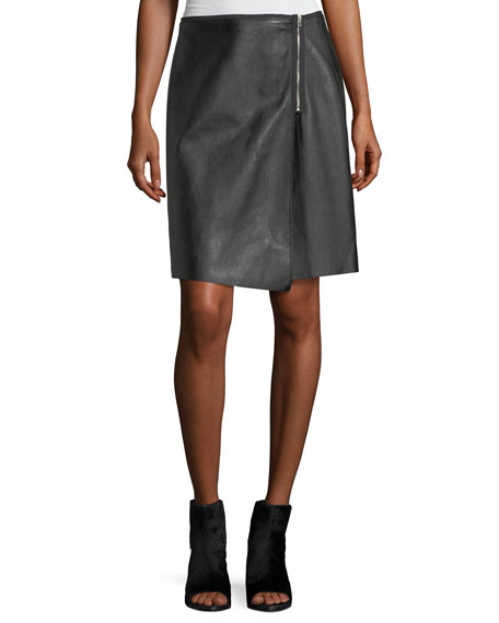 Lloyd Side-Zip A-Line Leather Skirt