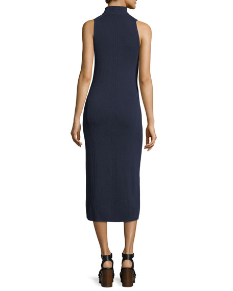Ace Sleeveless Cashmere Turtleneck Midi Dress