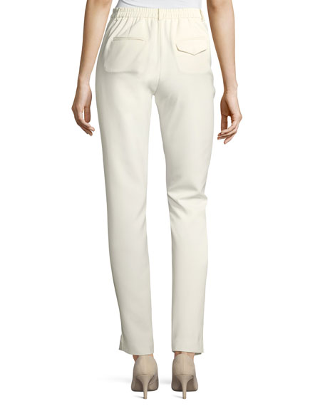 Satin-Trimmed Slim Tapered Crepe Pants