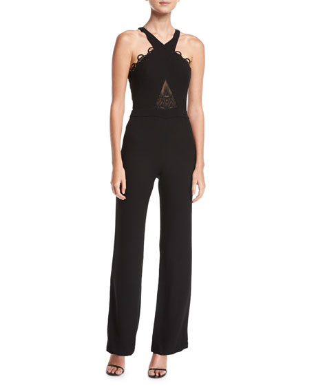 Eve Halter Sleeveless Crepe Jumpsuit w/ Embroidered Lace