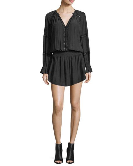Candice Split-Neck Long-Sleeve Beaded Dress