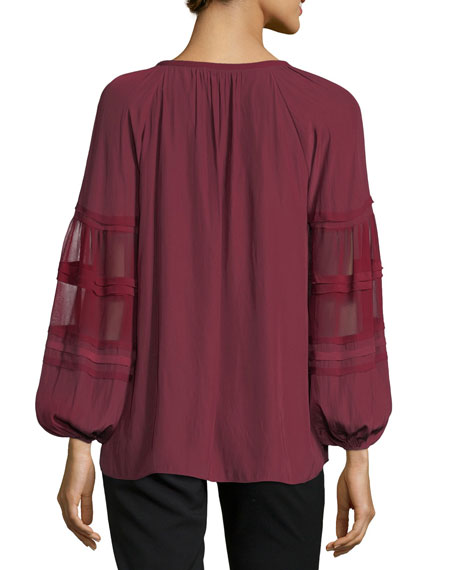 Rae V-Neck Sheer Long-Sleeves Top