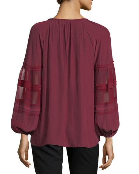 Rae V-Neck Sheer Long-Sleeves Top