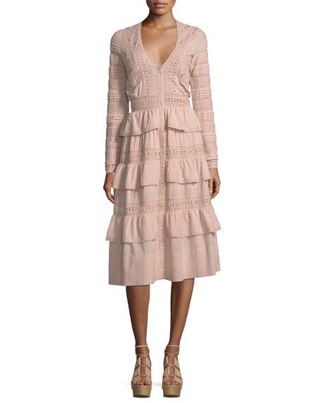 Rebecca Embroidered Cotton Midi Dress
