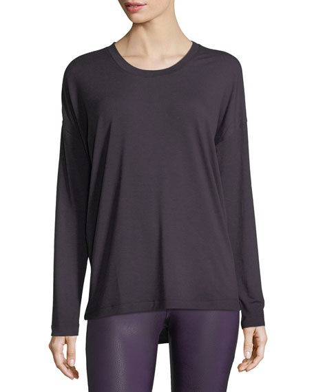 Braid-Back Long-Sleeve Performance Top