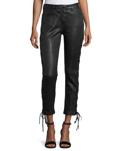 Lace-Up Crop Lamb Leather Pants