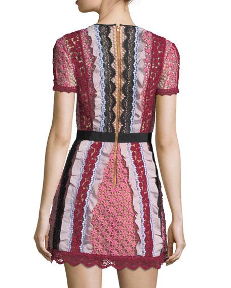 127ce5220c53 Self-Portrait Bellis Paneled Lace-Trim Mini Dress