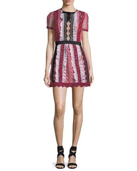d8a18ebebda8 Self-Portrait Bellis Paneled Lace-Trim Mini Dress