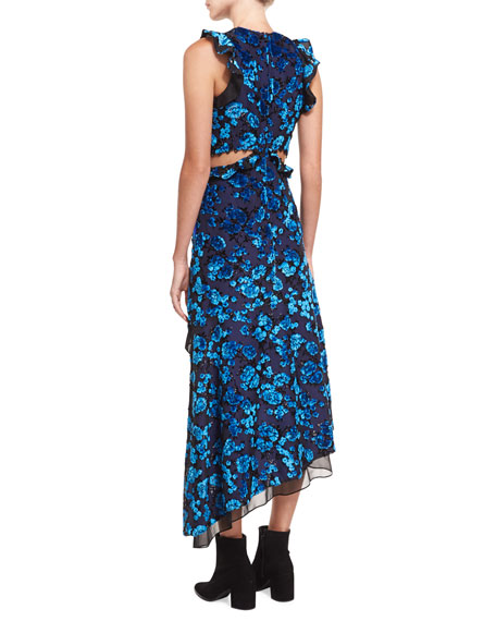 Floral Devore Velvet Sleeveless Cutout Asymmetric Dress