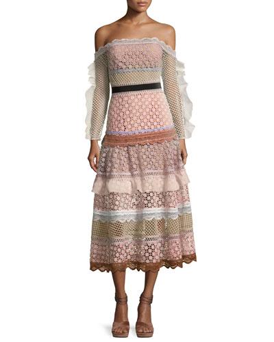 Bellis Off-the-Shoulder Lace-Trim Midi Dress