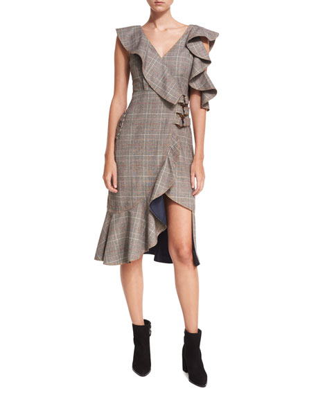 O-Ring Wool-Check Midi Wrap Dress w/ Asymmetric Frill