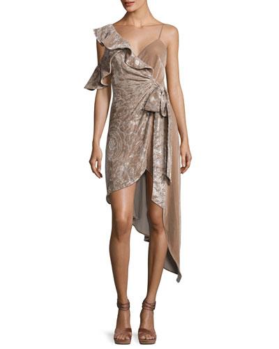 Velvet Devore Asymmetric Wrap Dress