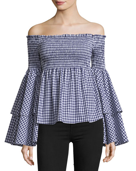 a39e773b4904ba Caroline Constas Appolonia Off-the-Shoulder Gingham Cotton Top