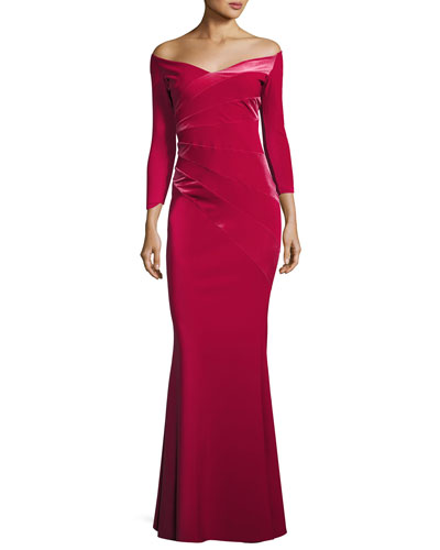Kaliska Off-the-Shoulder Long-Sleeve Evening Gown w/ Velvet