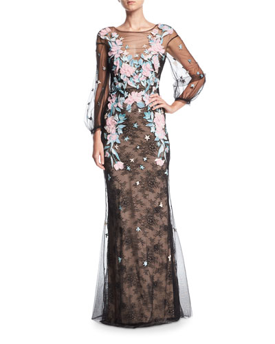 Lace Tulle Long-Sleeve Evening Gown w/ Floral Embroidery