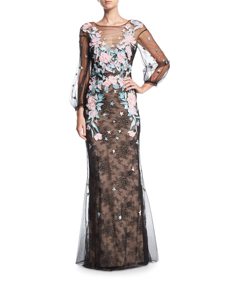 00443108 Marchesa Notte Lace Tulle Long-Sleeve Evening Gown w/ Floral Embroidery