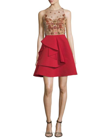 Sleeveless Embellished Draped Faille Cocktail Dress