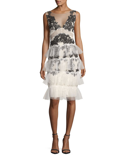 V-Neck Embroidered Lace Tiered Cocktail Dress