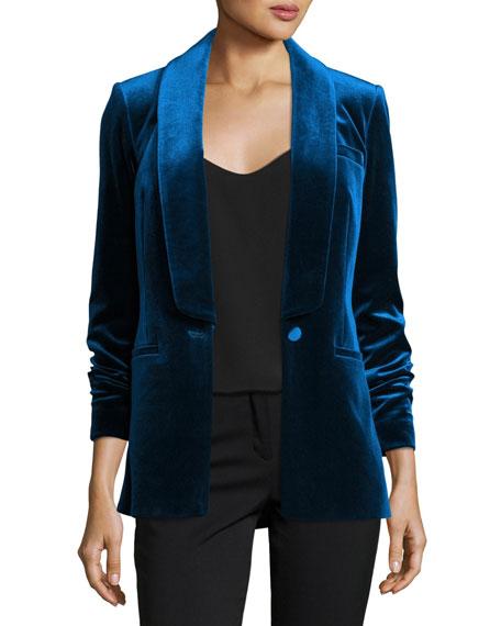 Single-Breasted Velvet Tailored Jacket