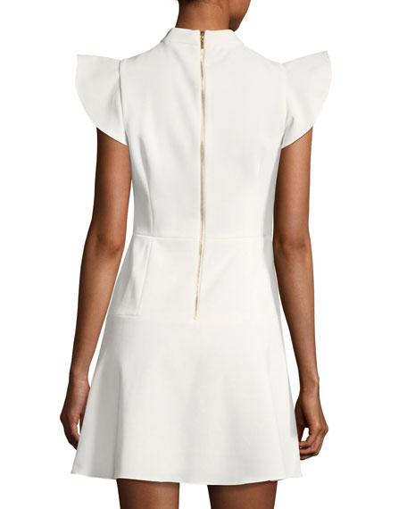 Parma Mock-Neck Flutter Sleeve A-line Dress
